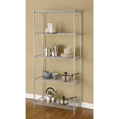 Artiva USA Silvertone Grey Metal Wire 68-inch 5-shelf Shelving Rack