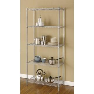 Artiva USA Silvertone Grey Metal Wire 68 Inch 5 Shelf Shelving Rack