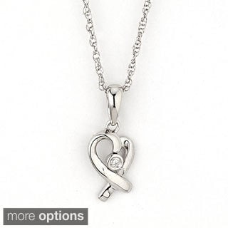 Diamonds for a Cure 14k Gold Diamond Accent Heart-shaped Cancer Awareness Necklace