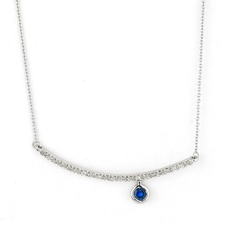 Diamonds for a Cure 14k White Gold 1/10ct TDW Diamond and Blue Sapphire Bar Necklace (H-I-I1-I2)