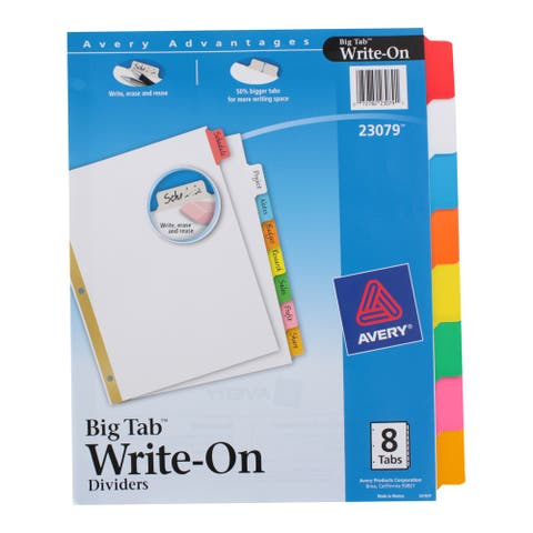 Avery Write-On Erasable Multicolor Index Divider Tabs