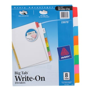 Avery Write-On Erasable Multicolor Index Divider Tabs (3 options available)