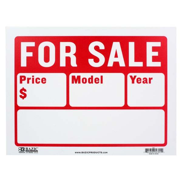 Printable Sign For Sale: Shop Bazic Small For Sale Sign With 2 Lines (9 X 12 Inches