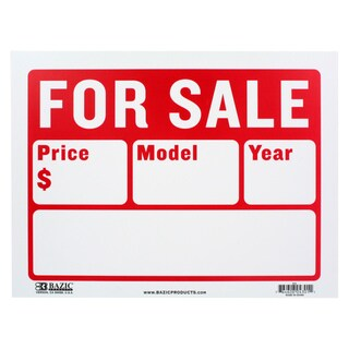 Bazic Small For Sale Sign with 2 Lines (9 x 12 inches)