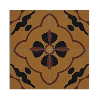 Lagouira 8-inch Red and Yellow Handmade Cement Moroccan Floor and Wall Tile (Case of 12)