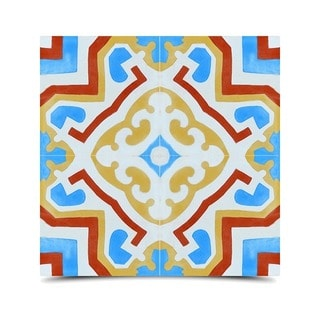 Ifran Red Yellow and Blue Handmade Cement and Granite Moroccan Tile 8-inch Floor and Wall Tile (Pack of 12)