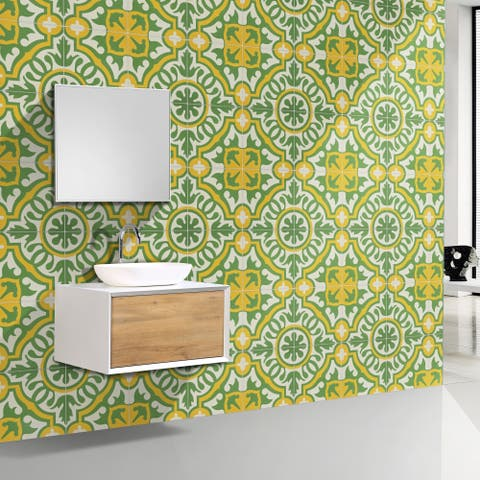 Baha in Green and Yellow Handmade 8x8-in Moroccan Tile (Pack 12)