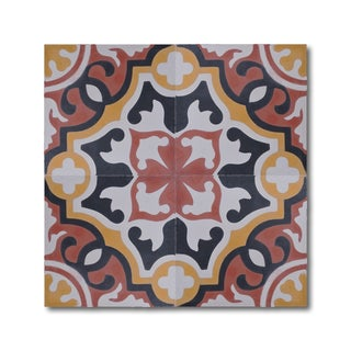 Baha Red and Yellow Handmade Cement and Granite Moroccan Tile 8-inch Floor and Wall Tile (Pack of 12)