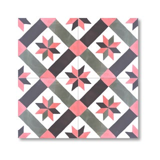 Kotobia Red and Black Handmade Cement and Granite Moroccan Tile 8-inch Floor and Wall Tile (Pack of 12)