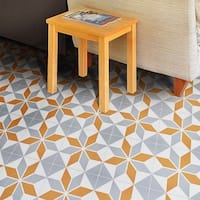 Assila in Grey and Orange Handmade 8x8-in Moroccan Tiles(Pack 12)