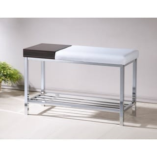 White Bonded Leather Chrome Shoe Storage Bench