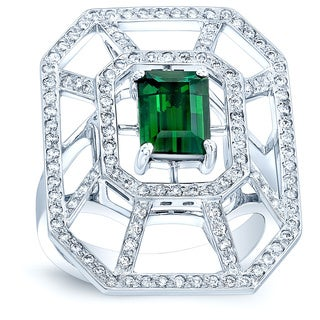 Estie G 18k White Gold 2/3ct TDW Diamond and Green Tourmaline Geometric Ring (G-H, VS1-VS2)(Size 7)