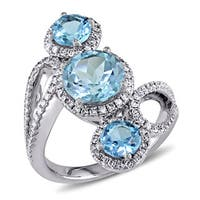 Miadora Signature Collection 18k White Gold Blue Topaz and 3/5ct TDW Diamond Ring (G-H, SI1-SI2)