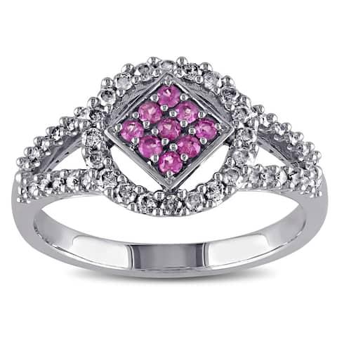 Miadora 10k White Gold Pink Sapphire and 1/3ct TDW Diamond Ring (J-K, I2-I3)