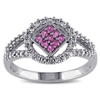 Miadora 10k White Gold Pink Sapphire and 1/3ct TDW Diamond Ring (J-K, I2-I3)