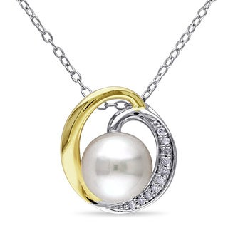 Miadora Two-tone Sterling Silver Cultured Freshwater White Pearl and Diamond Accent Necklace (8-8.5 mm)