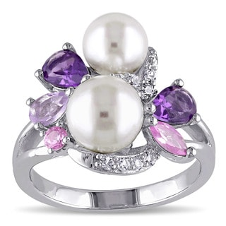 Miadora Sterling Silver Cultured Freshwater White Pearl, Amethyst, Created Sapphire and Rose de France Ring (6.5-8 mm)