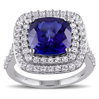 Miadora Sterling Silver Created Blue and White Sapphire Halo Cocktail Ring