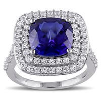 Miadora Sterling Silver Created Blue and White Sapphire Double Halo Cocktail Ring