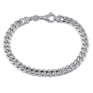 Miadora 10k White Gold Men's Cuban Link Bracelet
