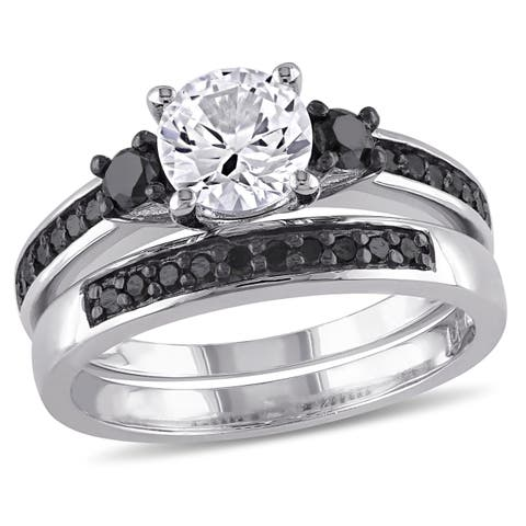 Miadora Sterling Silver Created White Sapphire and 2/ 5ct TDW Black Diamond Bridal Ring Set