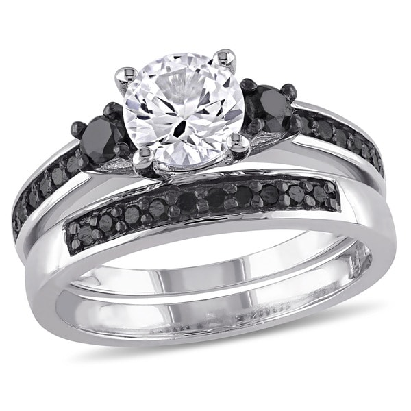 Miadora Sterling Silver Created White Sapphire and 2/ 5ct TDW Black Diamond Bridal Ring Set