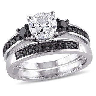 miadora sterling silver created white sapphire and 2 5ct tdw black diamond bridal ring set - Engagement Wedding Ring Sets
