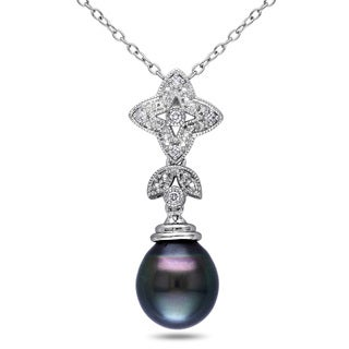 Miadora Sterling Silver Tahitian Pearl and Diamond Accent Necklace (9-9.5 mm)