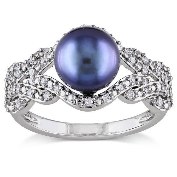 Miadora 10k White Gold Cultured Freshwater Pearl and 1/5ct TDW Diamond Ring (G-H,I2-I3) (8-8.5 mm)