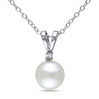 Buy pearl necklaces online at overstock our best necklaces deals miadora sterling silver freshwater pearl and 110ct tdw diamond necklace 7 8 aloadofball Gallery