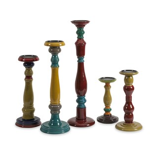 Jasper Wood Candleholders (Set of 5)