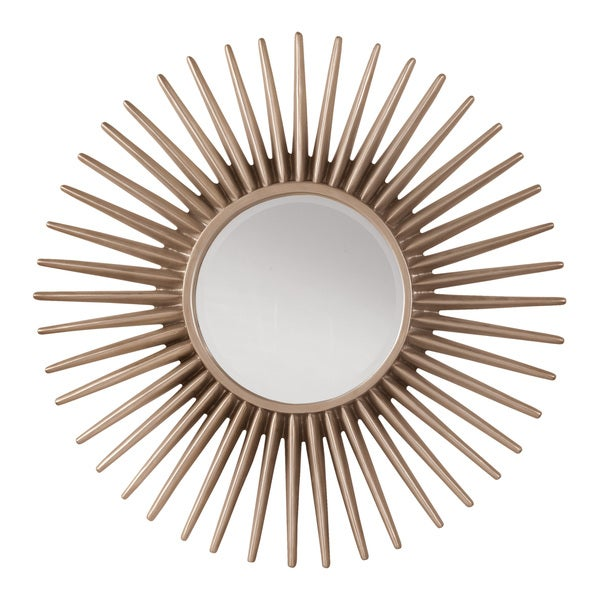 Silver Sun Frame Decorative Beveled Wall Mirror