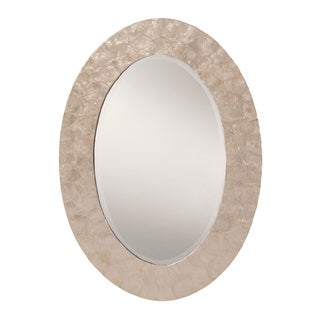 White Mother of Pearl Finished Frame Decorative Beveled Wall Mirror