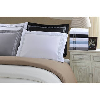 Superior Wrinkle Resistant Solid Regal Embroidery 3-piece Duvet Cover Set