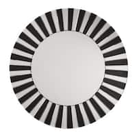 The Jazz Note Round Wall Mirror with Black Glass - Black/Silver - A/N