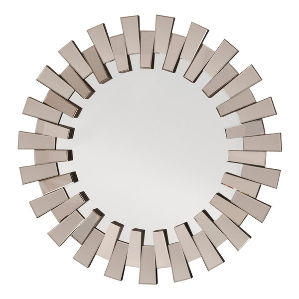 Apollo Glass Round Deco Wall Mirror - Grey/Silver