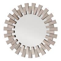 Apollo Glass Round Deco Wall Mirror - Grey/Silver