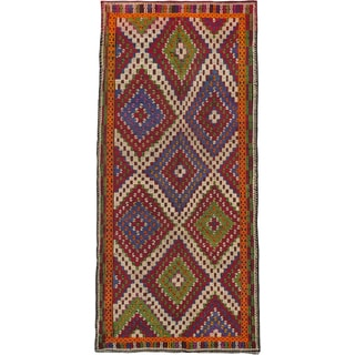 Ecarpetgallery Ottoman Kashkoli Blue, Dark Red Wool Geometric Sumak Rectangular (6'2 x 12'11)