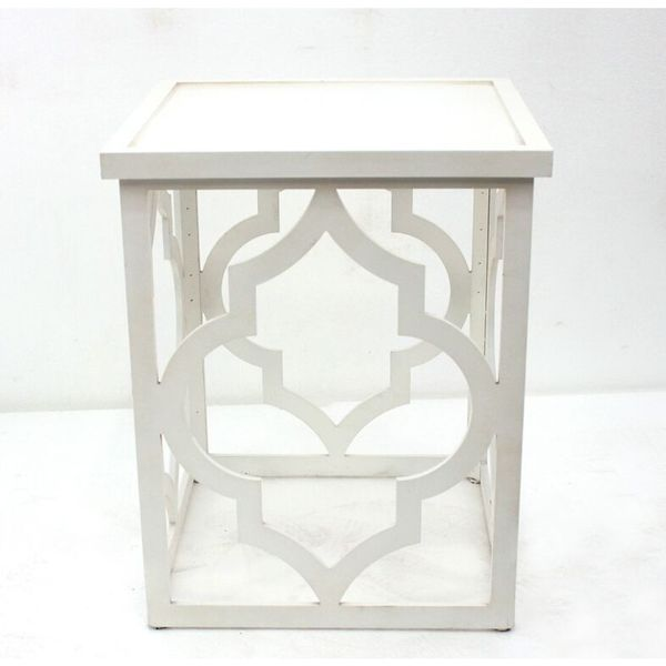 Teton Home 1 Af-045 White Open Moroccan-cut Wood Table
