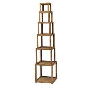 Teton Home Af-003 Light Brown Wooden 6-tier Storage Shelf