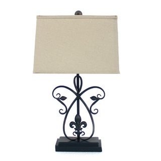 Teton Home 2 Tl-016 Fleur-dis-lis and Finial Metal Table Lamp