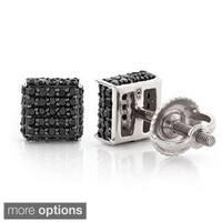 Luxurman 10k Gold 1/2ct TDW Black Diamond Stud Earrings