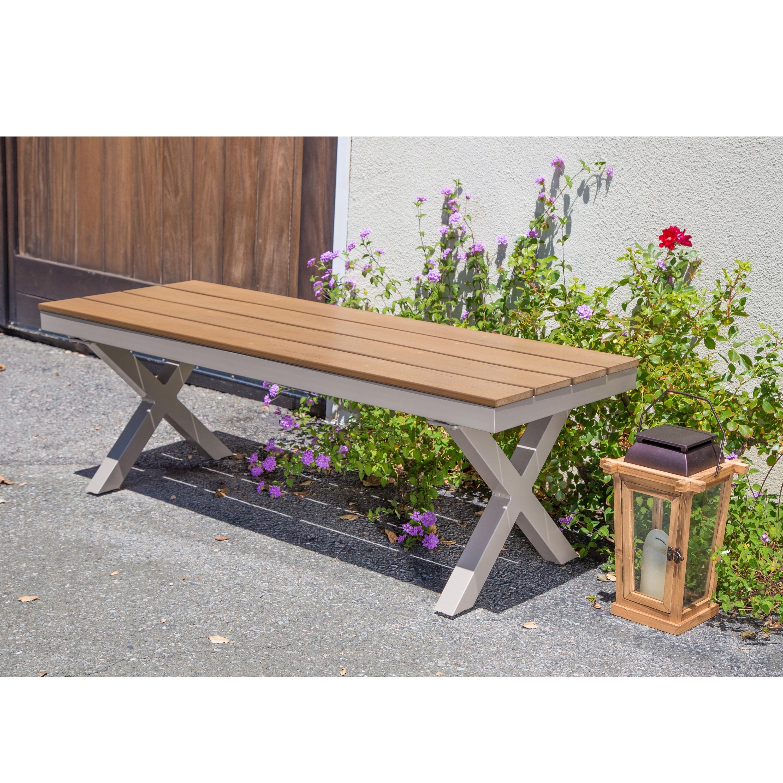 Corvus Jasmine Outdoor Aluminum and Poly-wood Bench (Alum...