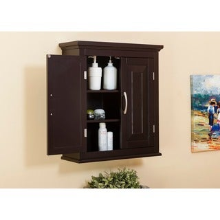 Genevieve Double Door Wall Cabinet by Elegant Home Fashions - Espresso