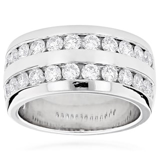 Luxurman Platinum Men's 2 1/10ct TDW Round Diamond Wedding Ring