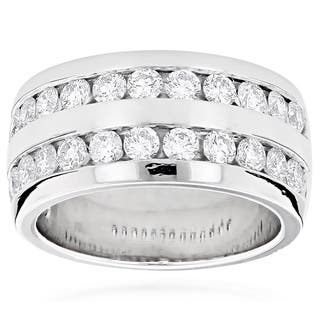 Luxurman Platinum Men's 2 1/10ct TDW Round Diamond Wedding Ring|https://ak1.ostkcdn.com/images/products/10164063/P17292662.jpg?impolicy=medium
