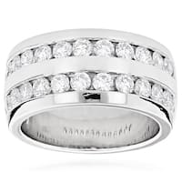 Luxurman Platinum Men's 2 1/10ct TDW Round Diamond Wedding Ring