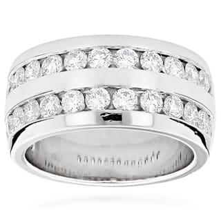 luxurman platinum mens 2 110ct tdw round diamond wedding ring - Mens Platinum Wedding Rings