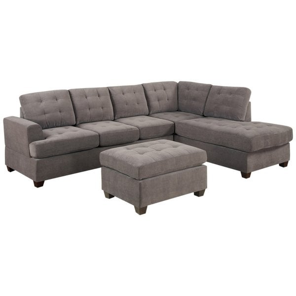 Shop 3 Piece Modern Grey Microfiber Reversible Sectional Sofa With