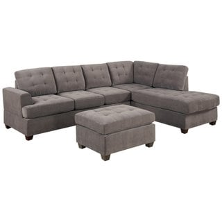 3-piece Modern Grey Microfiber Reversible Sectional Sofa with Large Ottoman